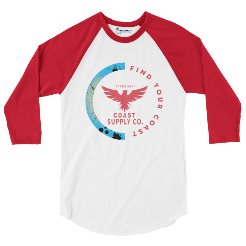 Men's Coast Supply 3/4 Sleeve Red W/White Sleeves Raglan Shirt - Find Your Coast Supply Co.
