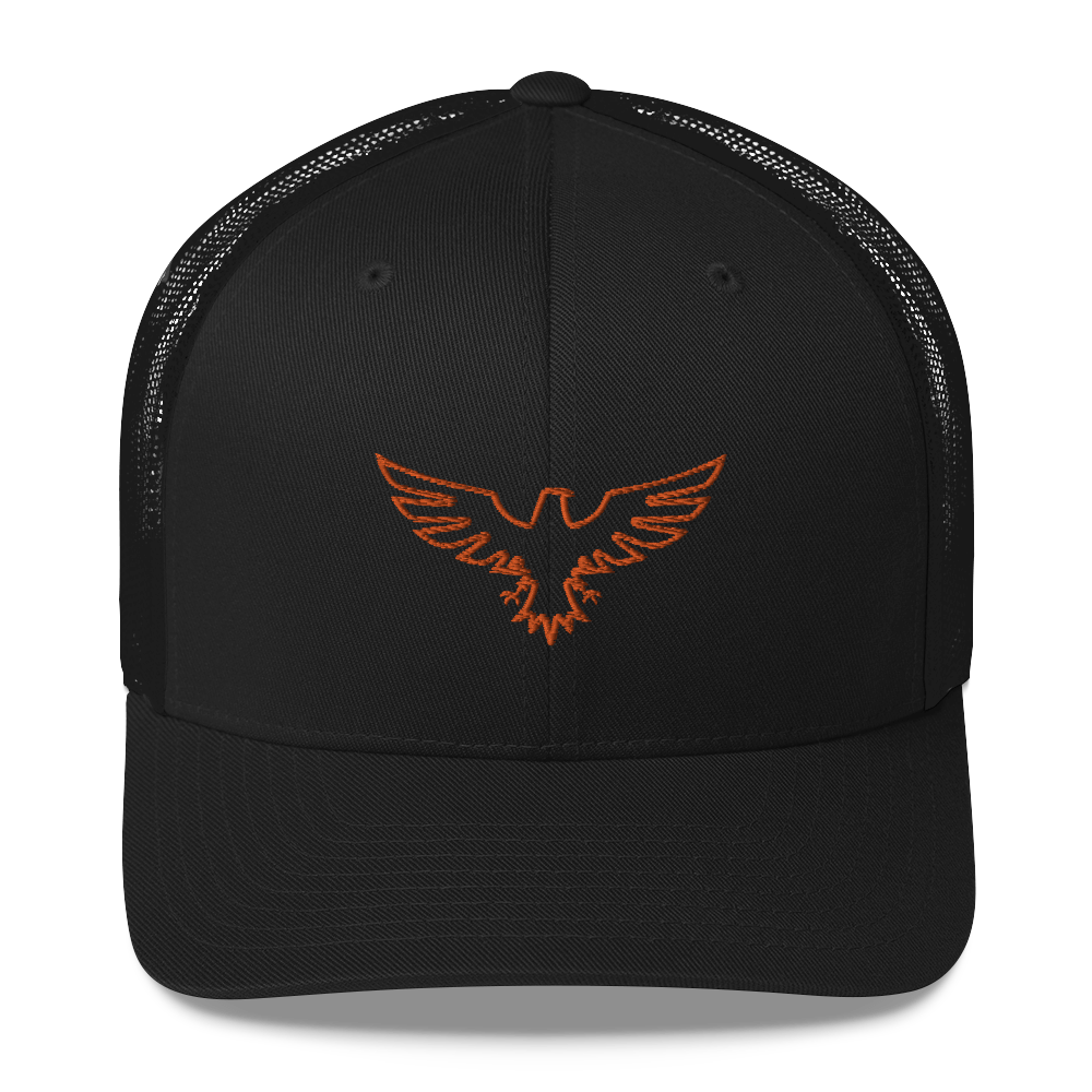 Find Your Coast Logo Mid-Profile Black w/Orange Trucker Hat