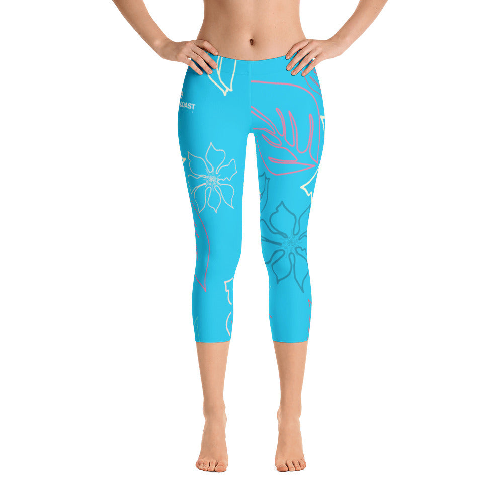 Women's All Day Comfort Baby Blue A L O H A Capri Leggings - Find Your Coast Supply Co.