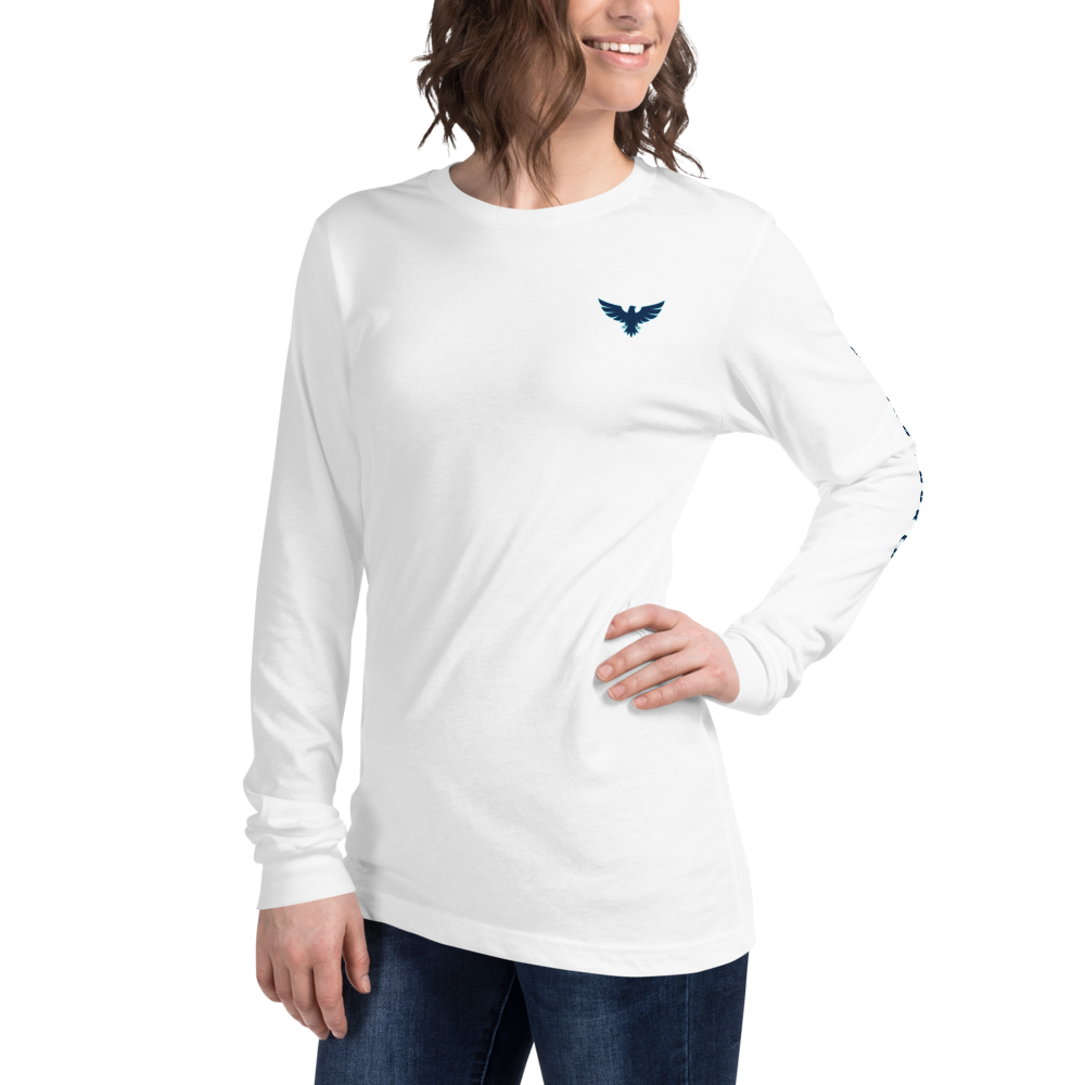 Women's All American Charter Series White w/Navy Crewneck Long Sleeve Shirt
