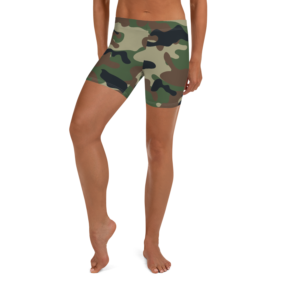 Women's All Day Comfort Green Camo Spandex Sport Shorts