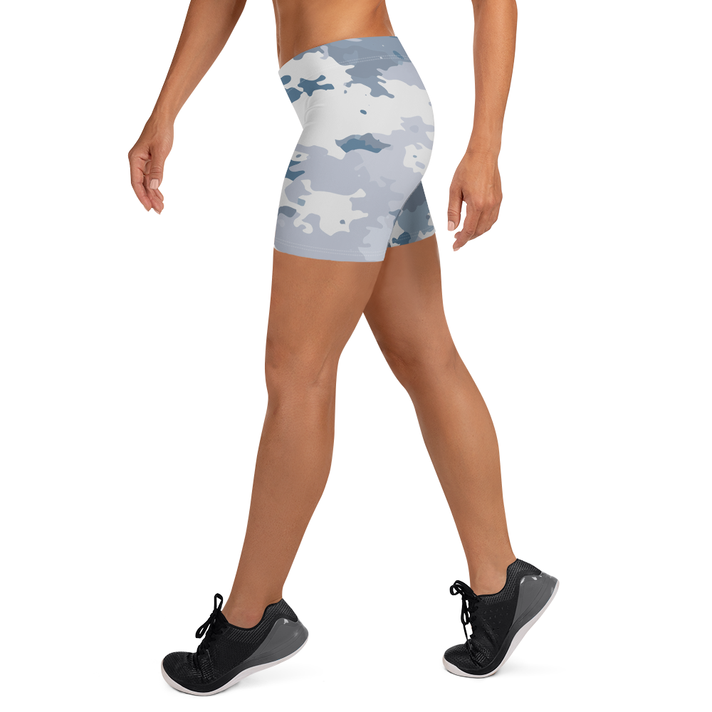 Women's All Day Comfort White Coast Camo Spandex Sport Shorts