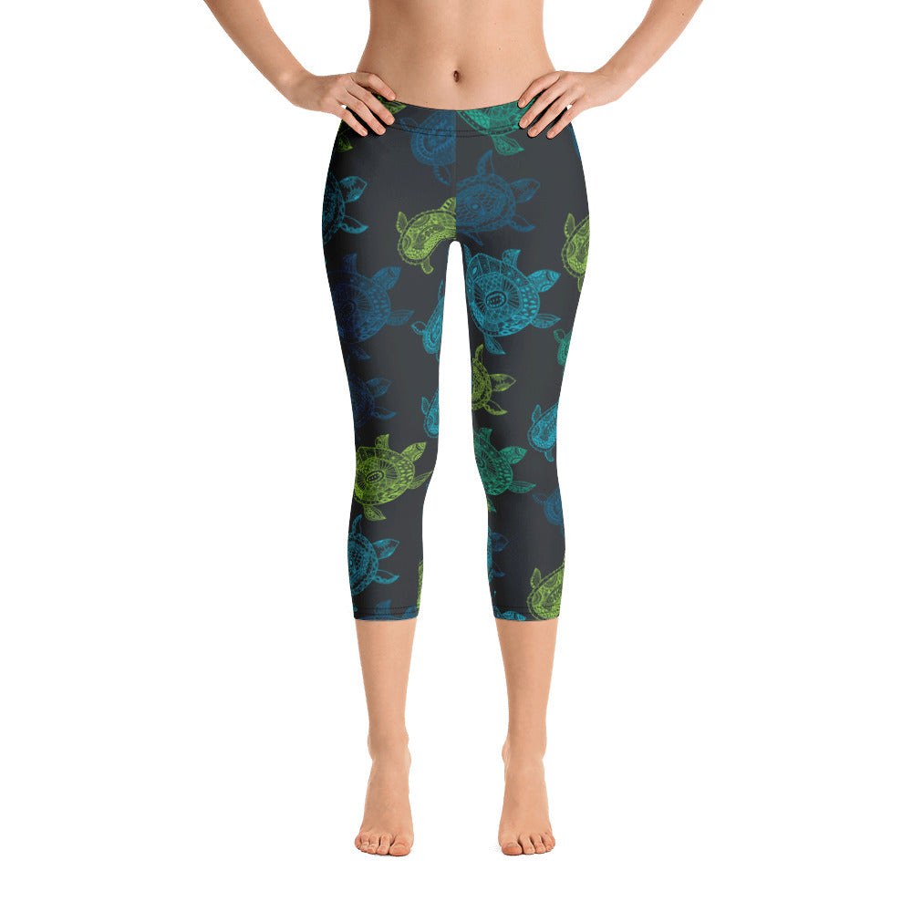 Women's All Day Comfort Turtle Capri Leggings - Find Your Coast Supply Co.