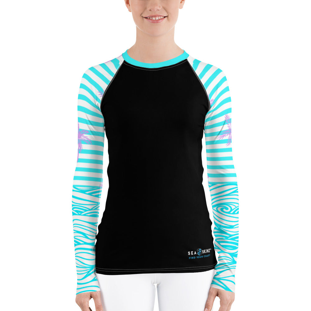 Women's Reels and Reefs Striped Sea Skinz Performance Rash Guard UPF 40+ - Find Your Coast Supply Co.