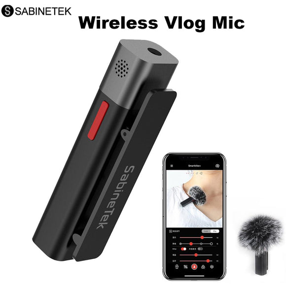 SABINETEK SmartMike+ Wireless Bluetooth Vlog Radio Microphone Real-time Mic for iPhone Huawei Smartphone Computer Camera Vlogger