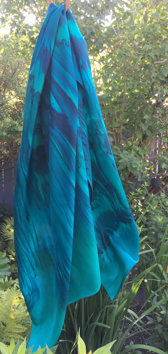 Emerald and marine cast silk sarong - Soierie Huo