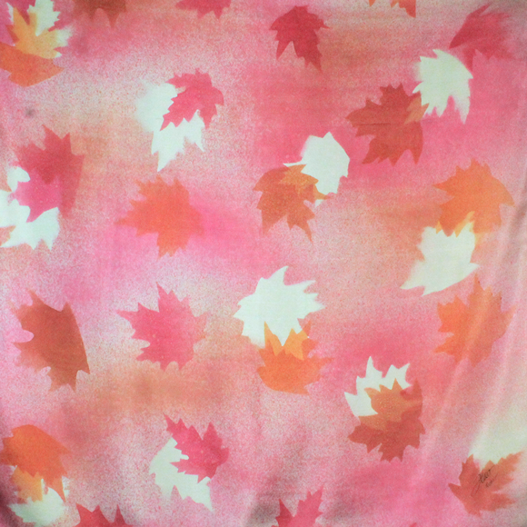 Pink maple silk square scarf - Soierie Huo
