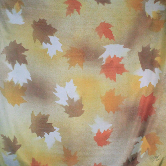 Square silk caramel maple silk scarf - Soierie Huo