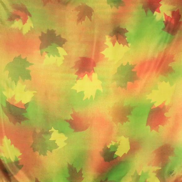 Green and red maple square silk scarf - Soierie Huo