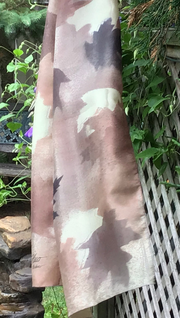 Brown maple silk scarf - Soierie Huo
