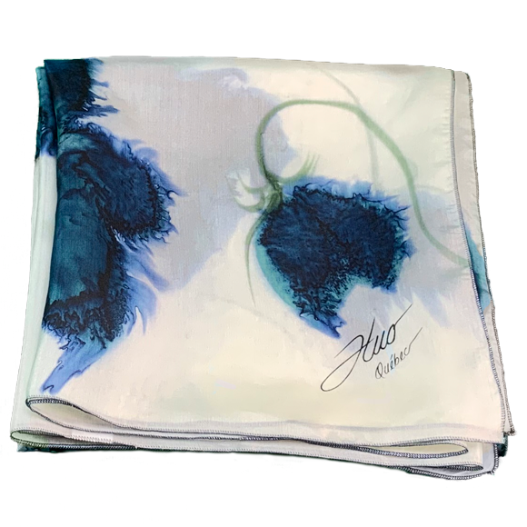 White silk square scarf with sea flowers - Soierie Huo