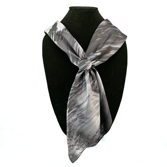 Silk square and clip set in grey - Soierie Huo