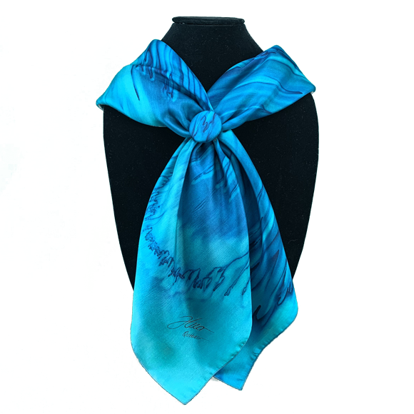 Silk square and emerald and marine clip set - Soierie Huo