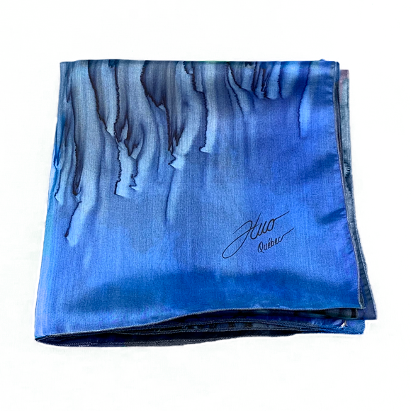 Black and ultramarine cast silk square scarf - Soierie Huo