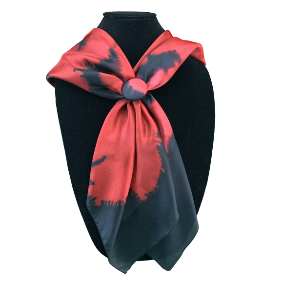 Set Silk square and clip black flowered red - Soierie Huo