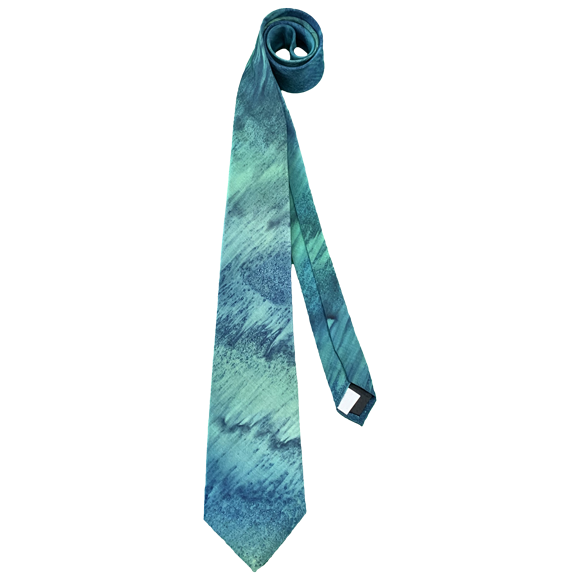 Pale emerald and marine silk tie - Soierie Huo