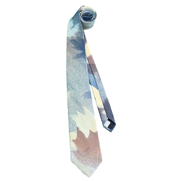 Blue and brown maple silk tie - Soierie Huo