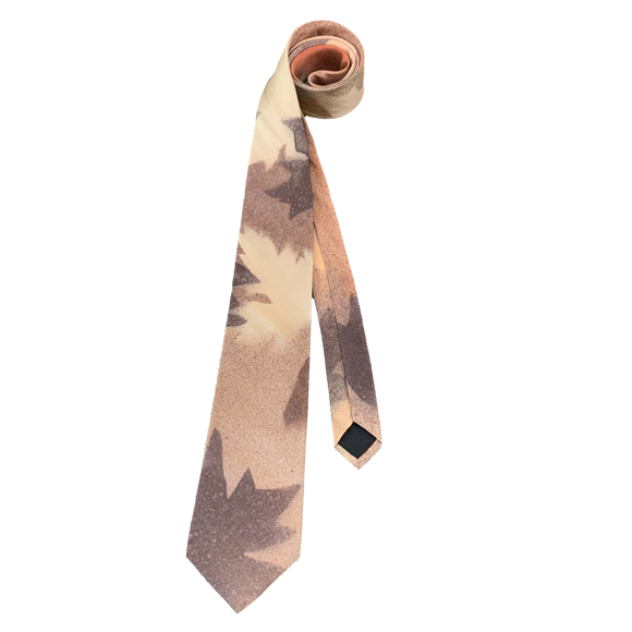 Beige and brown maple silk tie - Soierie Huo
