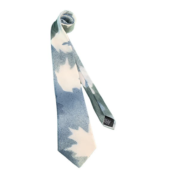 Sea maple and green silk tie - Soierie Huo