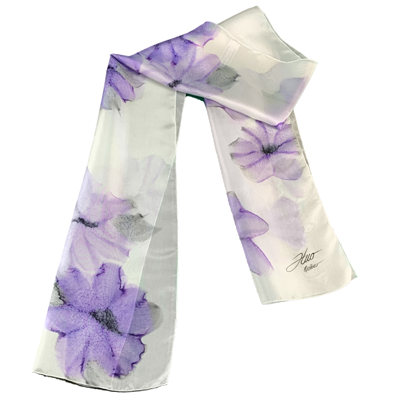 White silk scarf with mauve flowers - Soierie Huo