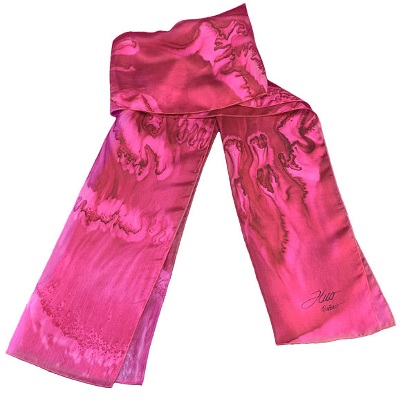 Pomegranate cast silk scarf - Soierie Huo
