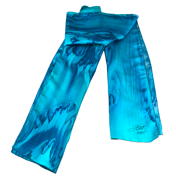 Emerald and marine cast silk scarf - Soierie Huo