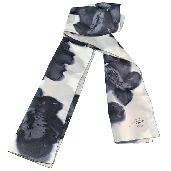 White silk scarf with black flowers - Soierie Huo