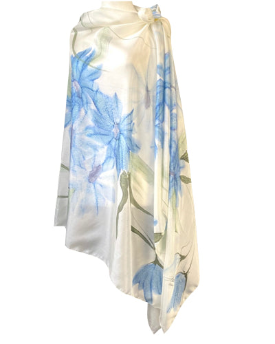 Hand-painted silk sarong Azure daisies - Soierie Huo