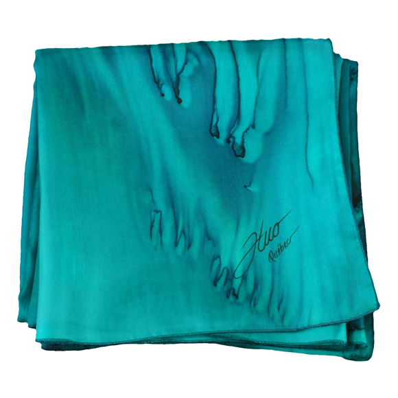 Square silk emerald and marine silk scarf - Soierie Huo