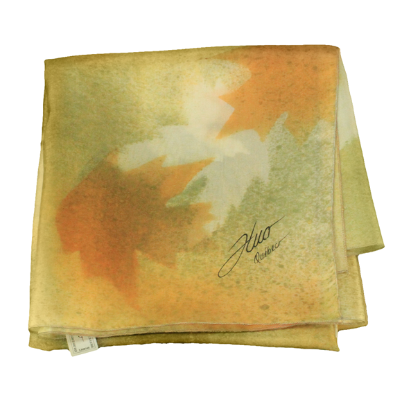 Yellow and green maple square silk scarf - Soierie Huo