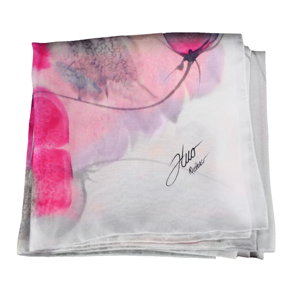 White silk square scarf with pink flowers - Soierie Huo
