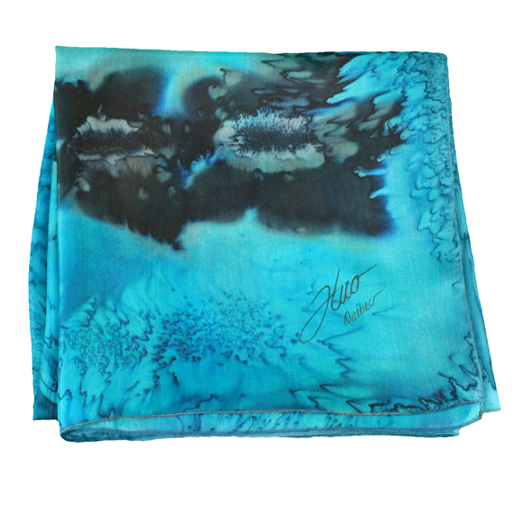 Square silk emerald silk scarf with sea flowers - Soierie Huo