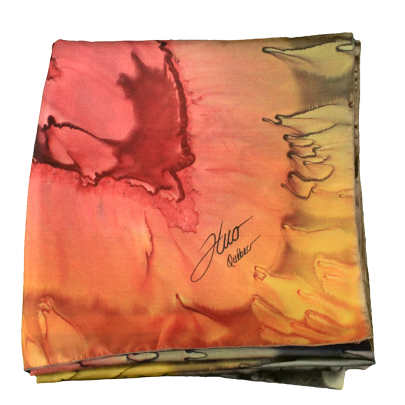 Square silk scarf with warm hearts - Soierie Huo