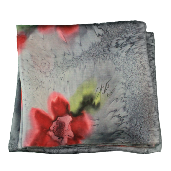 Red flower grey silk square scarf - Soierie Huo