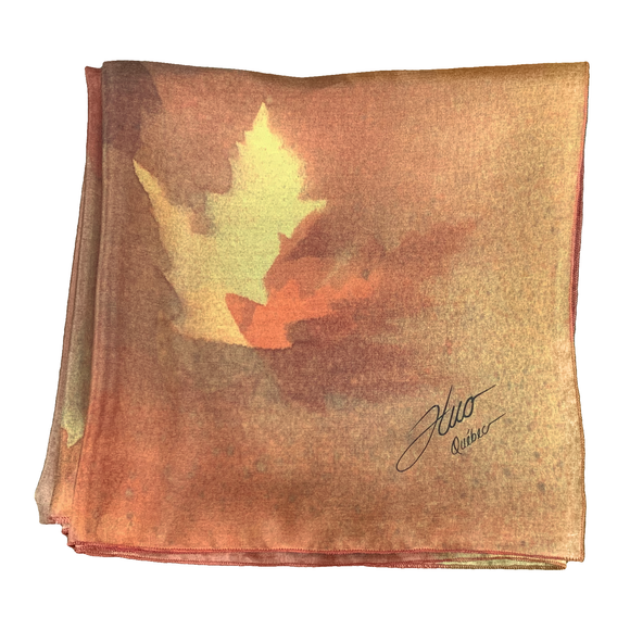 Red and orange maple square silk scarf - Soierie Huo