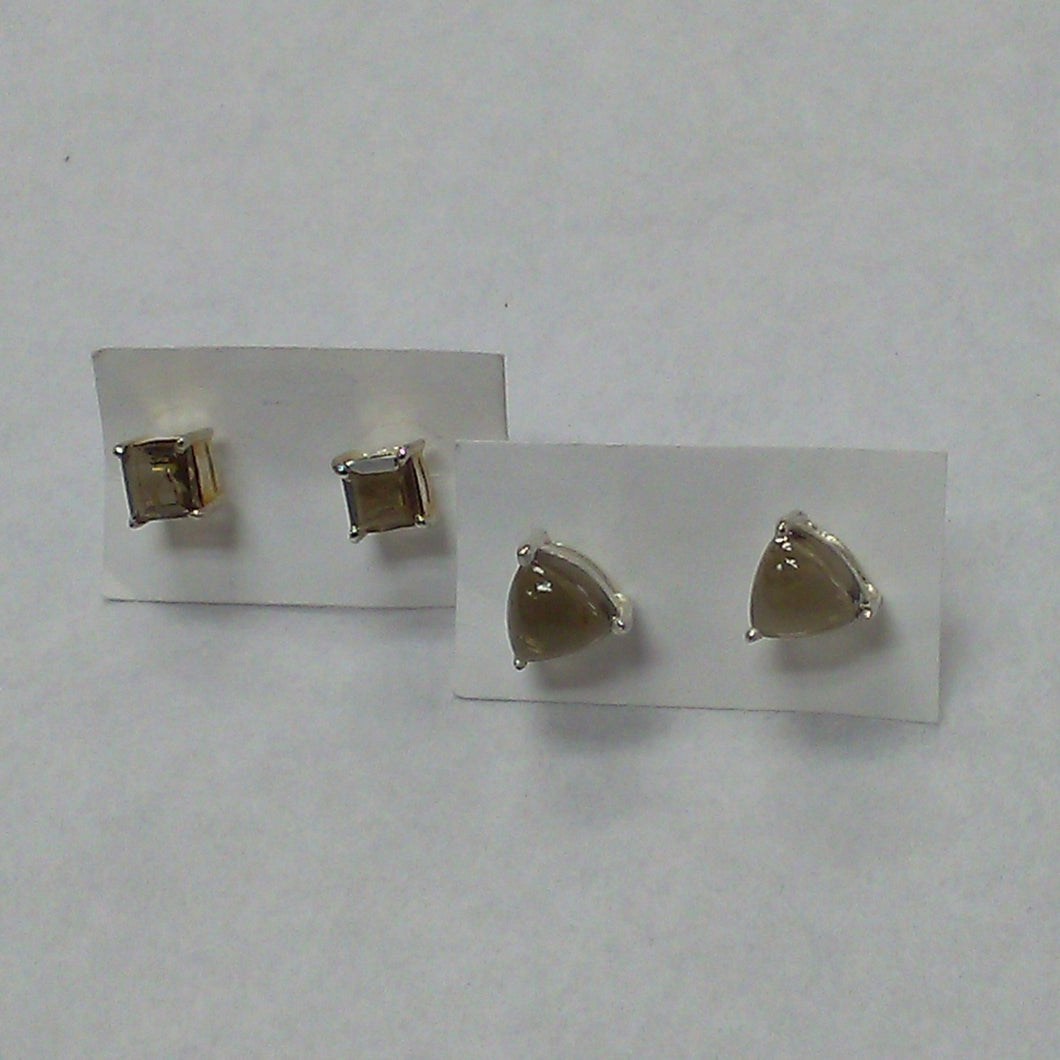Smokey Quartz Faceted Stud earrings