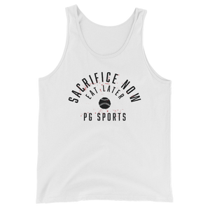 Sacrifice Now Eat Later – Baseball White Tank