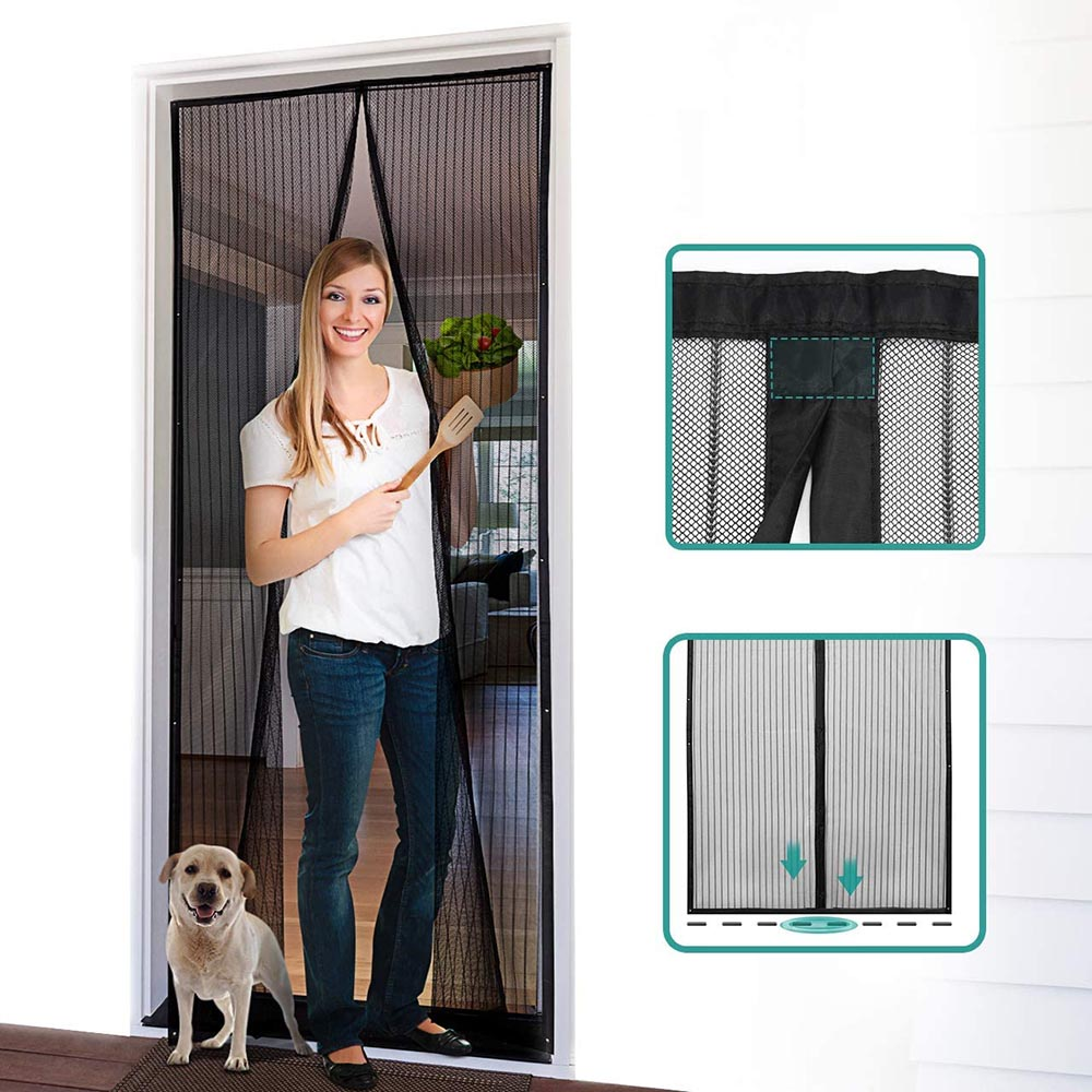 Magnetic Screen Door with Heavy Duty Mesh Curtain