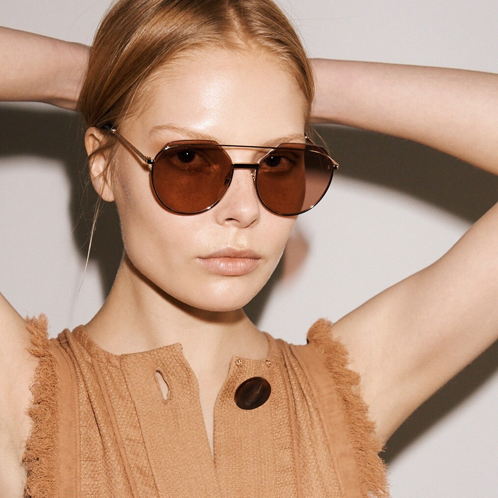Zanzan ZUKI round rose gold metal sunglasses unisex