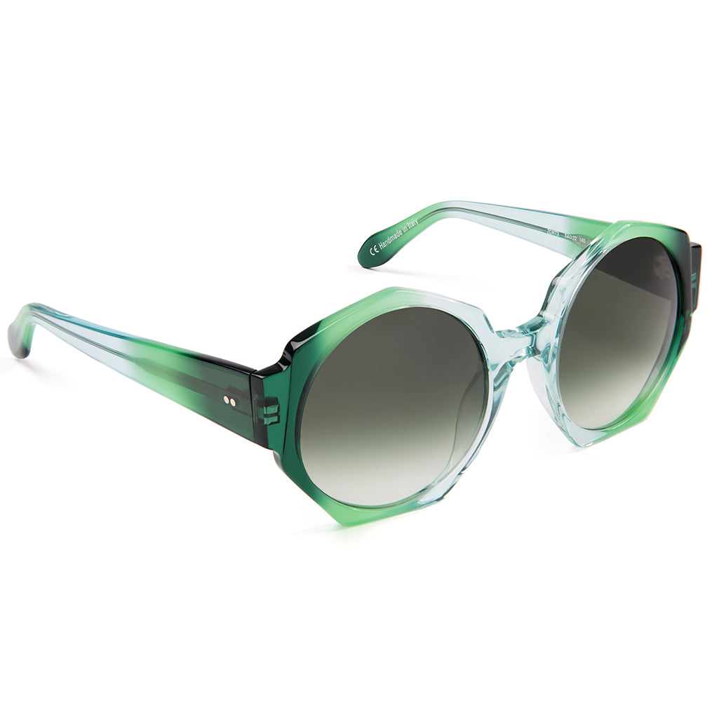 Zanzan Hexagon Green Ombre Oversized Sunglasses