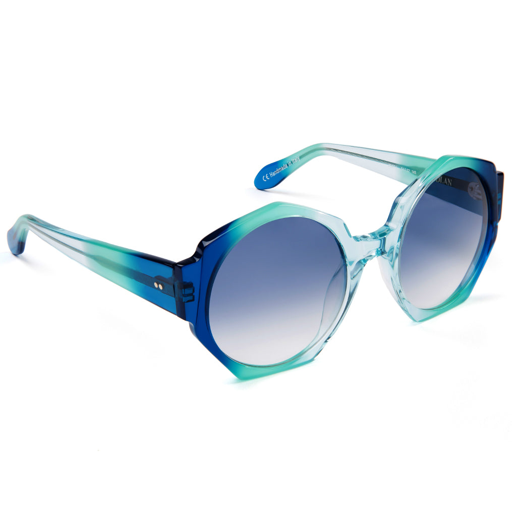 Zanzan Hexagon Blue Ombre Oversized Sunglasses