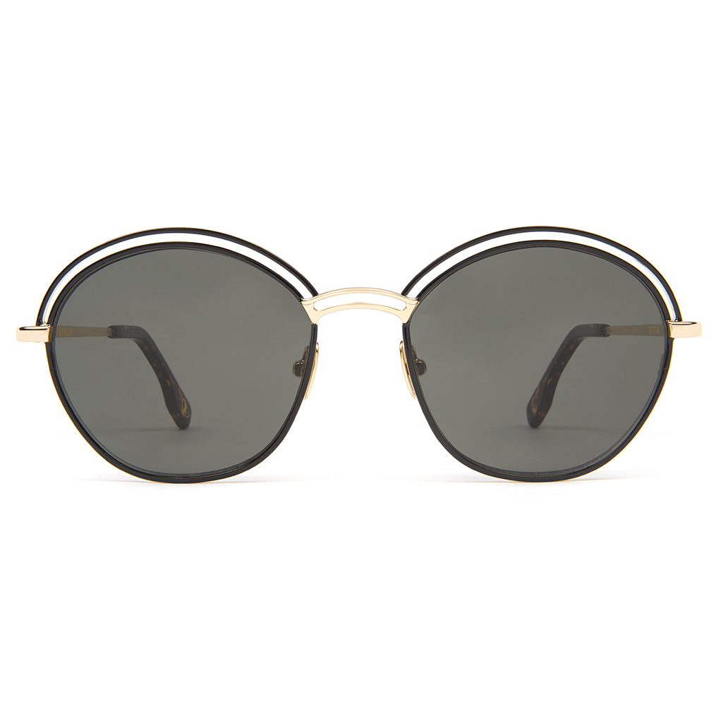 Zanzan Round Metal Gold Black Sunglasses