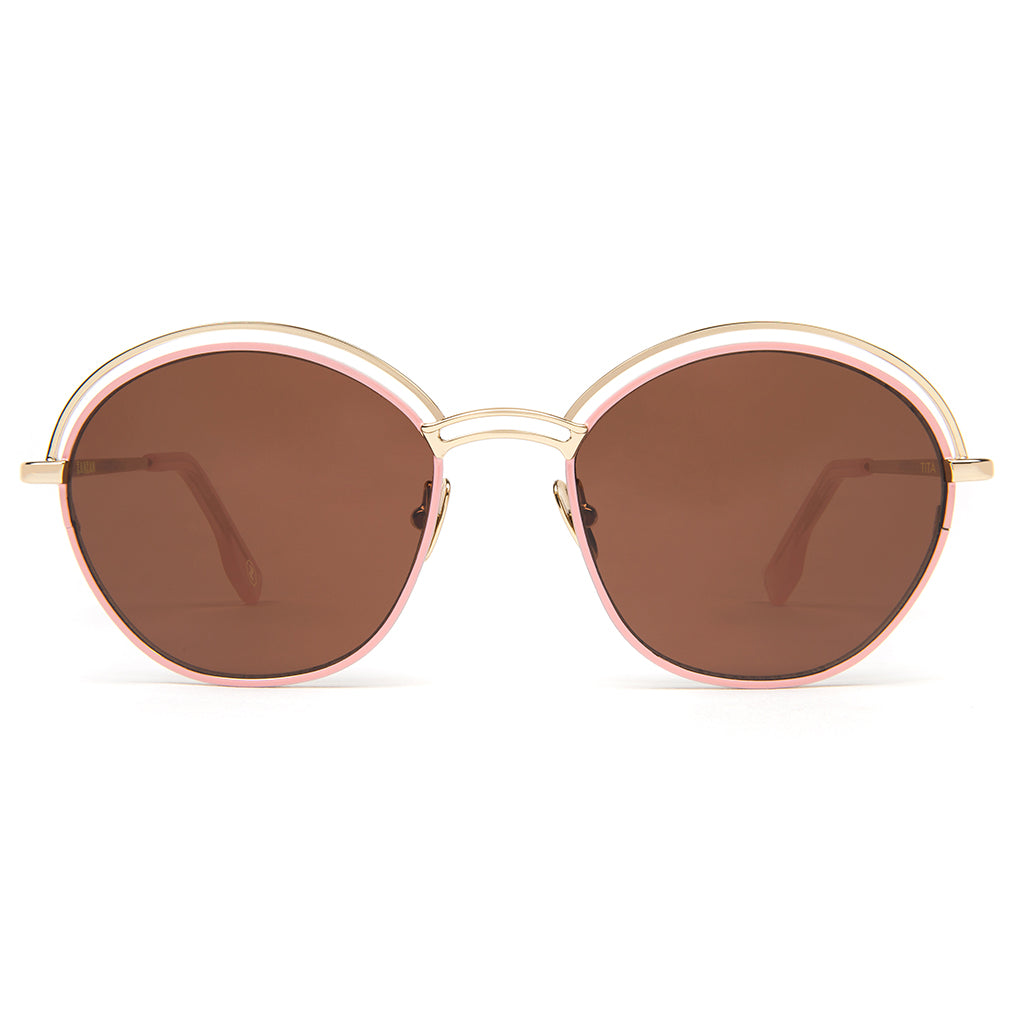 Zanzan Round Metal Gold Pink Sunglasses