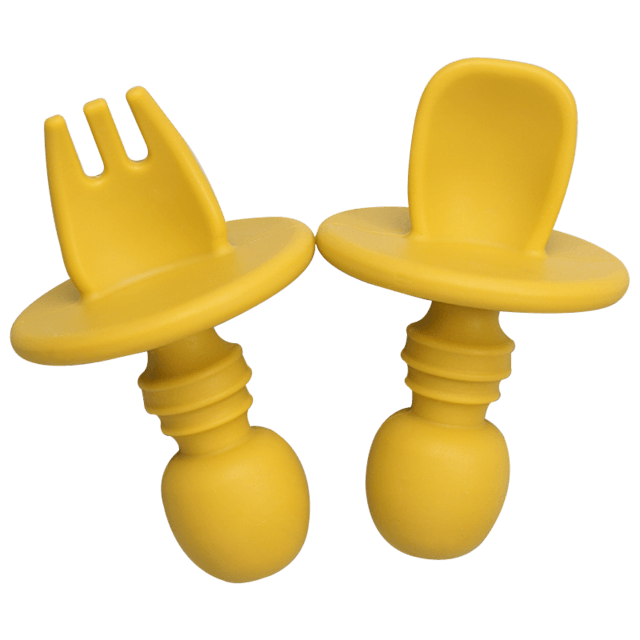 2pc Silicone Fork & Spoon - lionthelabel - Fork - Yellow - -