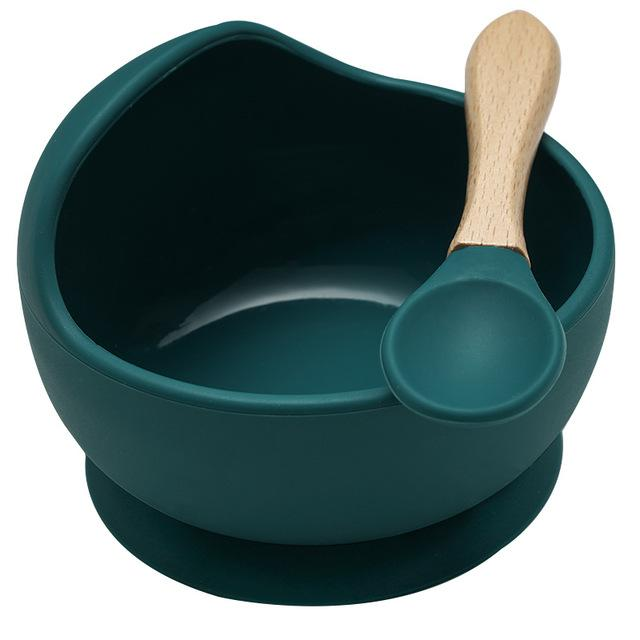 Mess Free Silicon Bowl and Spoon Set - lionthelabel - Bowl - Emerald - -