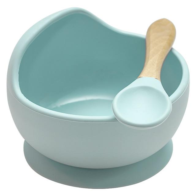 Mess Free Silicon Bowl and Spoon Set - lionthelabel - Bowl - Ice Blue - -