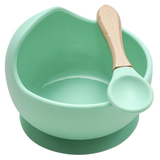 Mess Free Silicon Bowl and Spoon Set - lionthelabel - Bowl - Green - -