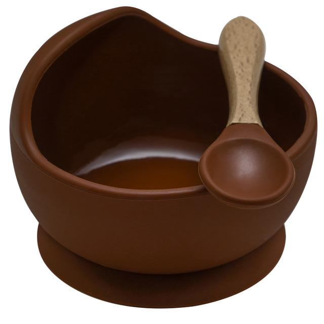 Mess Free Silicon Bowl and Spoon Set - lionthelabel - Bowl - Brown - -