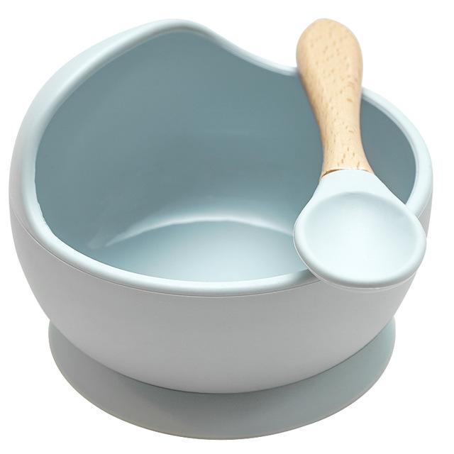 Mess Free Silicon Bowl and Spoon Set - lionthelabel - Bowl - Grey-Blue - -