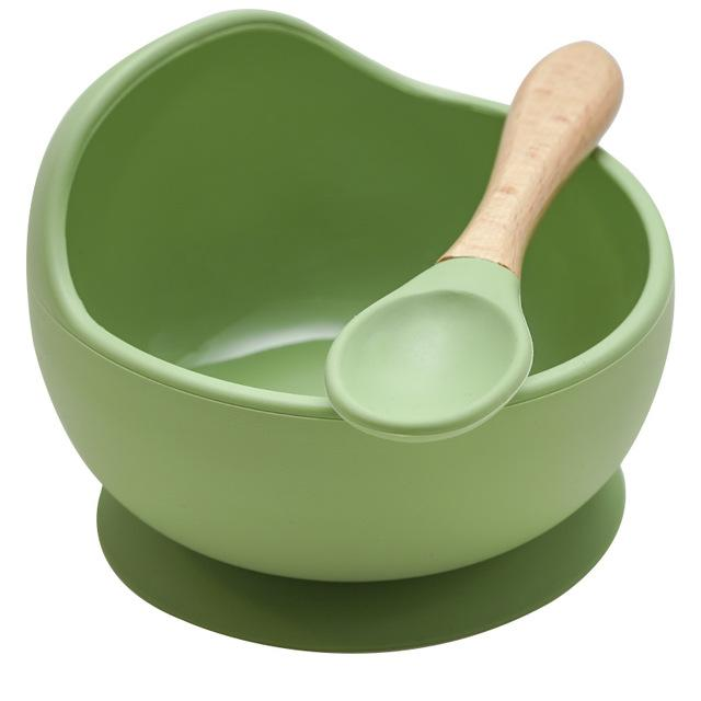 Mess Free Silicon Bowl and Spoon Set - lionthelabel - Bowl - Cucumber Green - -